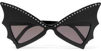 Saint Laurent Crystal-embellished Cat-eye Acetate Sunglasses - Black