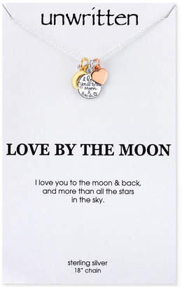 Unwritten I Love You to the Moon and Back Charm Pendant Necklace in Sterling Silver