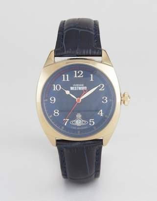 Vivienne Westwood Leather Watch In Navy Vv175blbl