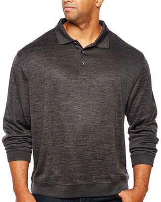 Van Heusen Flex Banded Bottom Easy Care Long Sleeve Tonal Melange Polo Shirt - Big and Tall