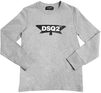 DSQUARED2 Logo Cotton Jersey Long Sleeve T-Shirt