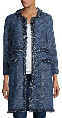 Theory Zarafilla Tweed Zip-Front Coat with Fringe Trim, Blue $695 thestylecure.com
