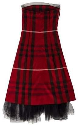 Burberry Exploded Check Silk Dress Red Exploded Check Silk Dress