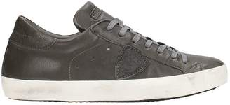 Philippe Model Paris Anthracite Leather Sneakers