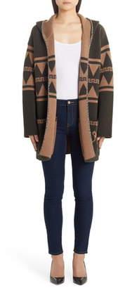 Alanui Crazy Monkey Hooded Reversible Wool Cardigan