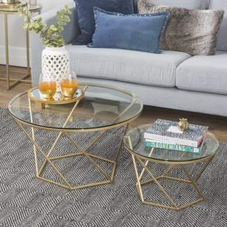 Walker Edison Modern Geometric Glass Nesting Coffee Table Set- Glass/Gold