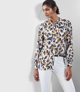 Reiss GISELLE ABSTRACT PRINT BLOUSE Blue