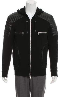 Balmain Leather-Trimmed Moto Hoodie