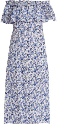 REBECCA TAYLOR Aimee floral-print off-the-shoulder silk dress $442 thestylecure.com