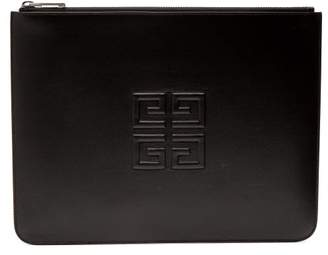 Givenchy Logo Embossed Leather Pouch - Mens - Black Khaki