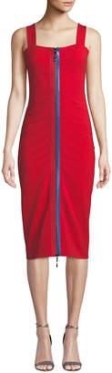 Cushnie Zip-Up Square-Neck Sleeveless Fitted Midi Cami Dress