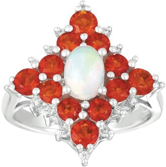 Sterling Ethiopian Opal, Diamond Accent & FireOpal Ring
