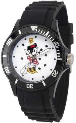 Disney Minnie Mouse Women's Black Plastic Watch, Black Bezel, Black Plastic Strap