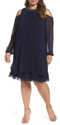 Xscape Evenings Embellished Cold Shoulder Shift Dress