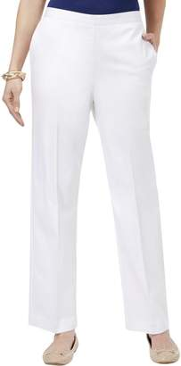 Alfred Dunner Womens Slit Front Pockets Pull On Casual Pants