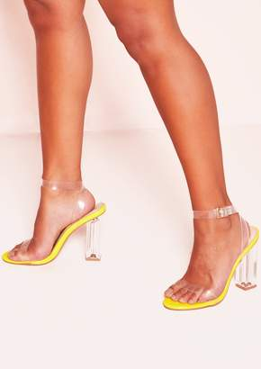 7867c63c97f Missy Empire Missyempire Pansy Neon Yellow Perspex Square Strappy Heels