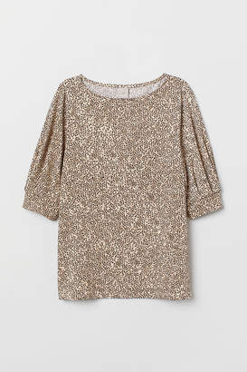 H&M Creped Jersey Top - Beige