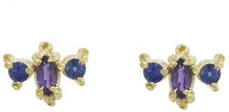Ruta Reifen Purple and Blue Sapphire Marquise Round Stud Earrings