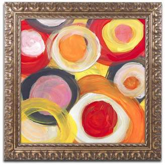 Trademark Fine Art 'Colorful Abstract Circles Square 2' Ornate Framed Art