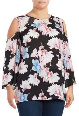 Vince Camuto Floral-Print Long-Sleeve Cold-Shoulder Top