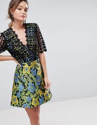 Asos DESIGN PREMIUM Lace Top Jacquard Mini Skater Dress