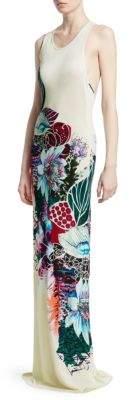 Roberto Cavalli Cutout Floral Maxi Dress