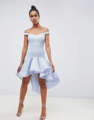 Asos Design DESIGN Premium Sculptured Ruffle Midi Prom Dress