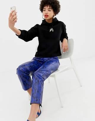 NA-KD pu pants with snake print in blue