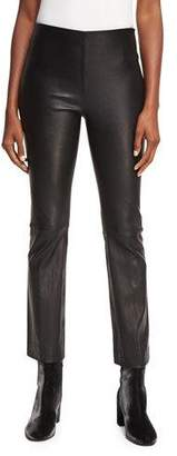 Vince Leather Flare Straight-Leg Pants