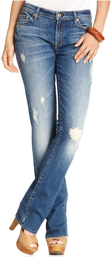 7 For All Mankind Jeans, Bootcut Medium-Wash Distressed
