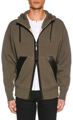 Tom Ford Men's Leather-Trim Zip-Front Hoodie