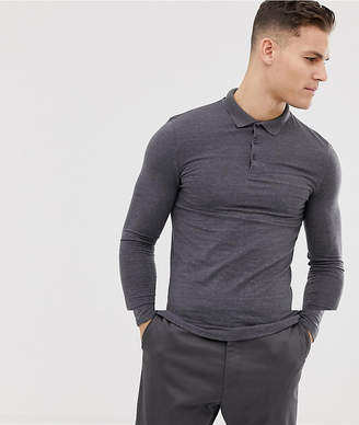 Asos DESIGN longline muscle fit jersey long sleeve polo