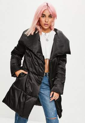 Missguided Black Waterfall Puffer Jacket