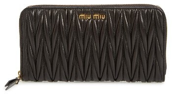 Miu Miu Women's Miu Miu Matelasse Leather Zip Around Wallet - Black