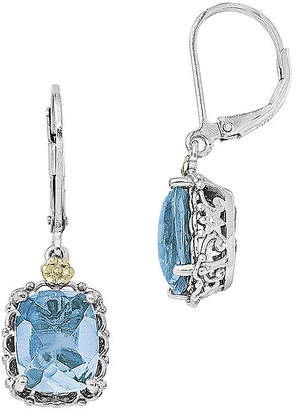 Couture FINE JEWELRY Shey Blue Topaz Sterling Silver and 14K Yellow Gold Earrings