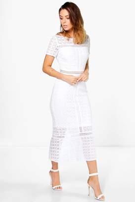 boohoo Boutique Crochet Midi Dress