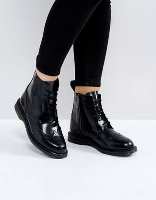 Dr. Martens Kensington Delphine Brogue Black Lace Up Ankle Boots
