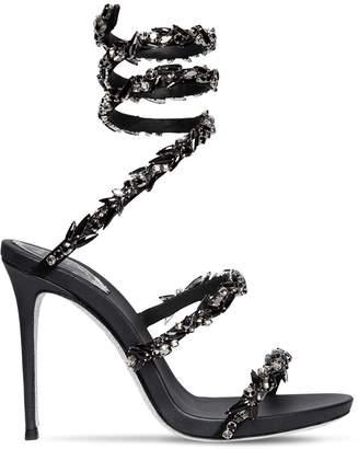 Rene Caovilla 105mm Snake Swarovski Satin Sandals