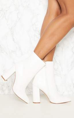 PrettyLittleThing White Faux Snake Ankle Boot