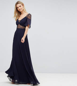 Asos Tall Tall Lace Insert Flutter Sleeve Maxi Dress