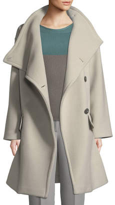 Emporio Armani High-Collar Wool Drama Coat
