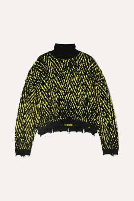 Versace Distressed Intarsia Wool-blend Turtleneck Sweater - Black