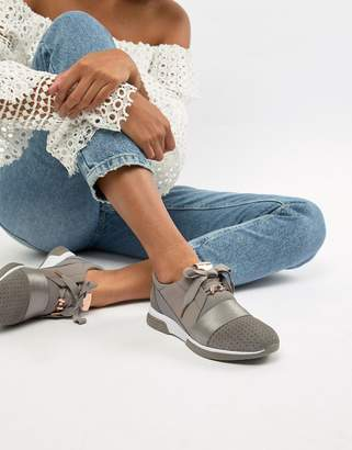 Ted Baker sporty strap detail grey suede trainers