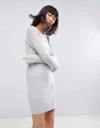 Asos Design Knitted Dress With Stitch Sleeves