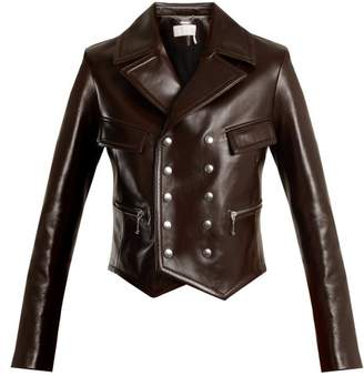 Chloé Double Breasted Leather Jacket - Womens - Brown