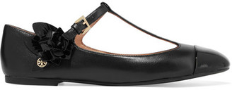 Tory Burch - Blossom Embellished Leather Ballet Flats - Black $265 thestylecure.com