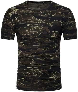 Hosamtel-Men's Tops Personality Camouflage T-shirt Hosamtel Men Summer Short-sleeve Slim Tops Blouse (, XL)