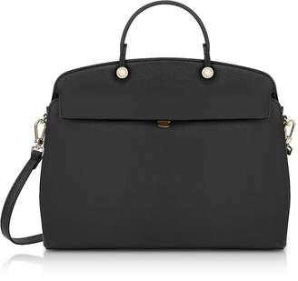 Furla Onyx Leather My Piper Medium Satchel Bag