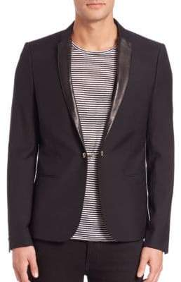The Kooples Leather-Trimmed Wool Blazer