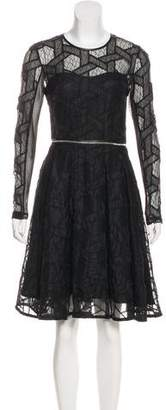Yigal Azrouel Leather-Trimmed Embroidered Dress